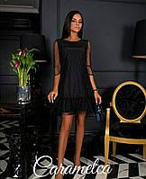 fe42e7d0c69 Кокетливое платье сетка капелька с рюшей на трикотажной подкладке черное