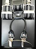 Мужские подтяжки для брюк черного цвета с белым орнаментом, фото 3