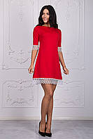 Красное женское платье с белым ажуром хит продаж