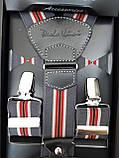 Мужские подтяжки для брюк синего цвета с красной полоской, фото 3