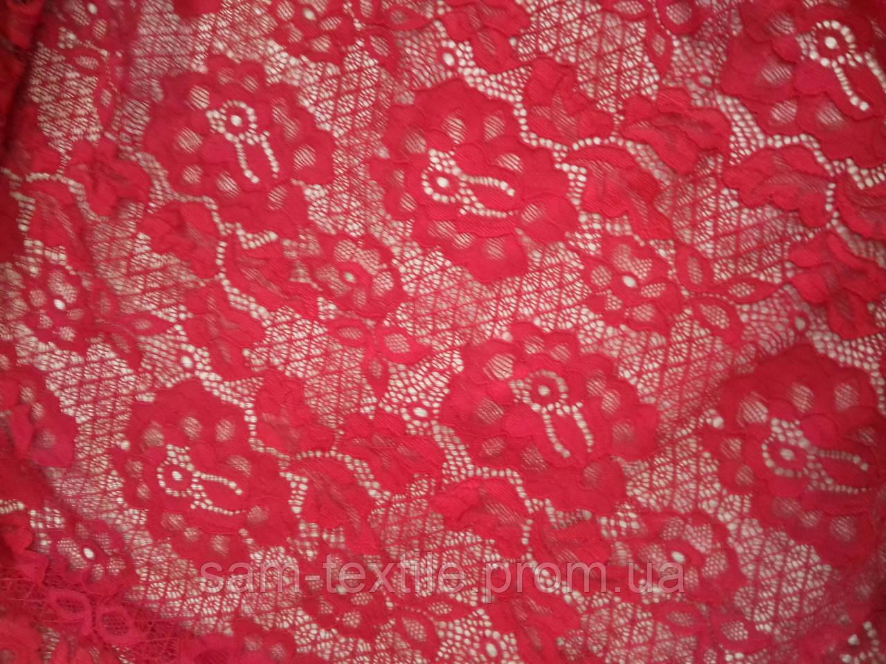 Ткань гипюр цветочный арнамент (красный)  Гипюр оптом и в розницу ... 0e79703eb19