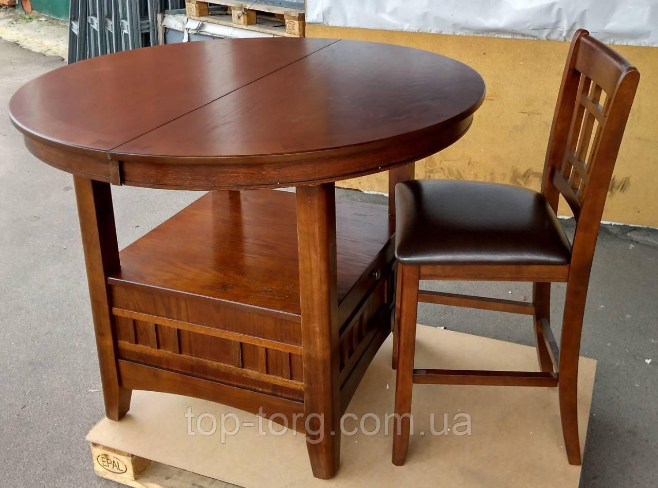 Стілець барний 760APU, напів-барний, високий, дерев'яний, колір темний горіх, краща ціна, відправка по Україні,
