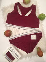 Женский комплект спортивного белья Calvin Klein бордовый
