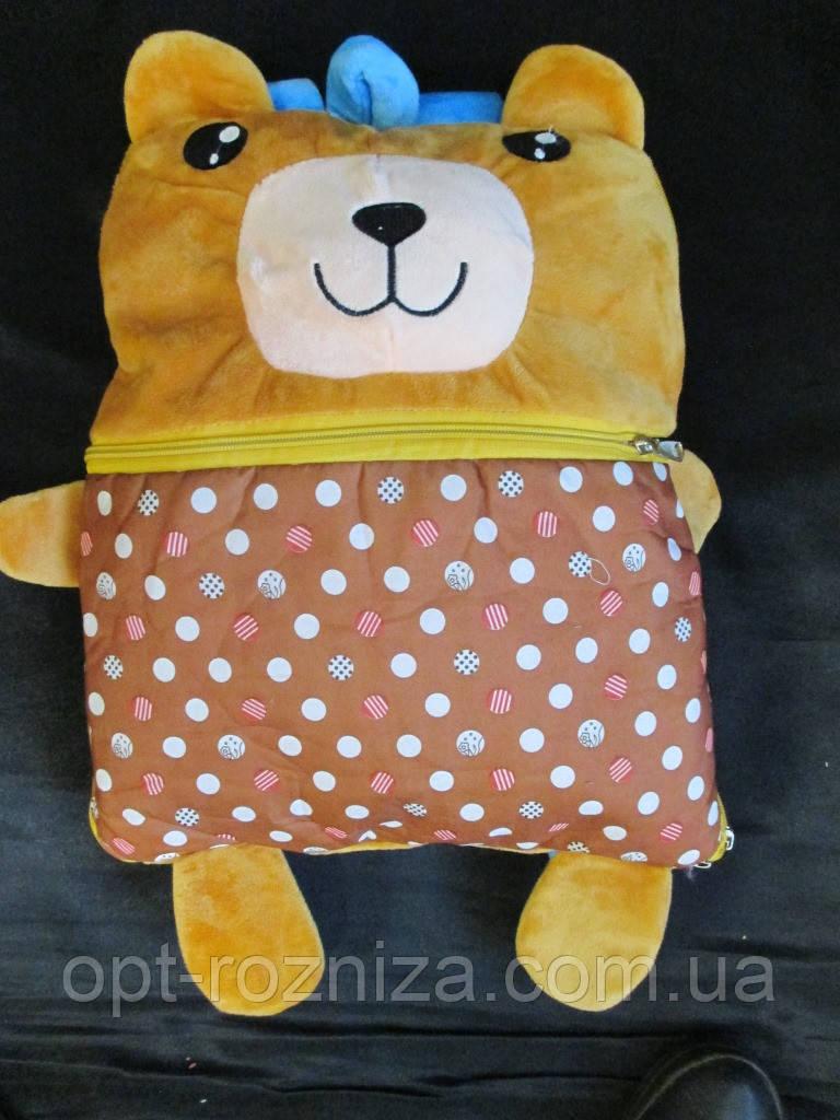 Велюровое детское покрывало в сумке -игрушке