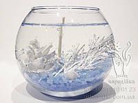 Свеча гелевая Чародейка новогодняя шар голубой