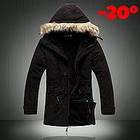 Мужская зимняя куртка парка на меху В НАЛИЧИИ, чёрный (PS_01) РАЗМЕР 42-46