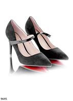 Туфли лодочки классика черные замша каблук 9 см