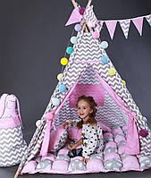 Игровая палатка вигвам комплект Бонбон Мечта Розовый с серым