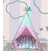 Детский игровой шатер комплект Бонбон Совы розовый с мятой