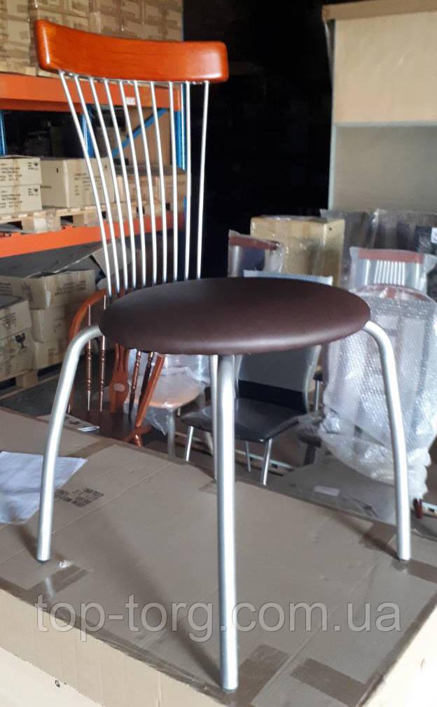 Стул Брауни металлический, сатин, мягкое сиденье, коричневый кожзам (экокожа), в кухню