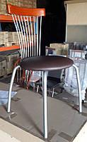 Стул С3285 металлический, сатин, мягкое сиденье, коричневый кожзам (экокожа), в кухню