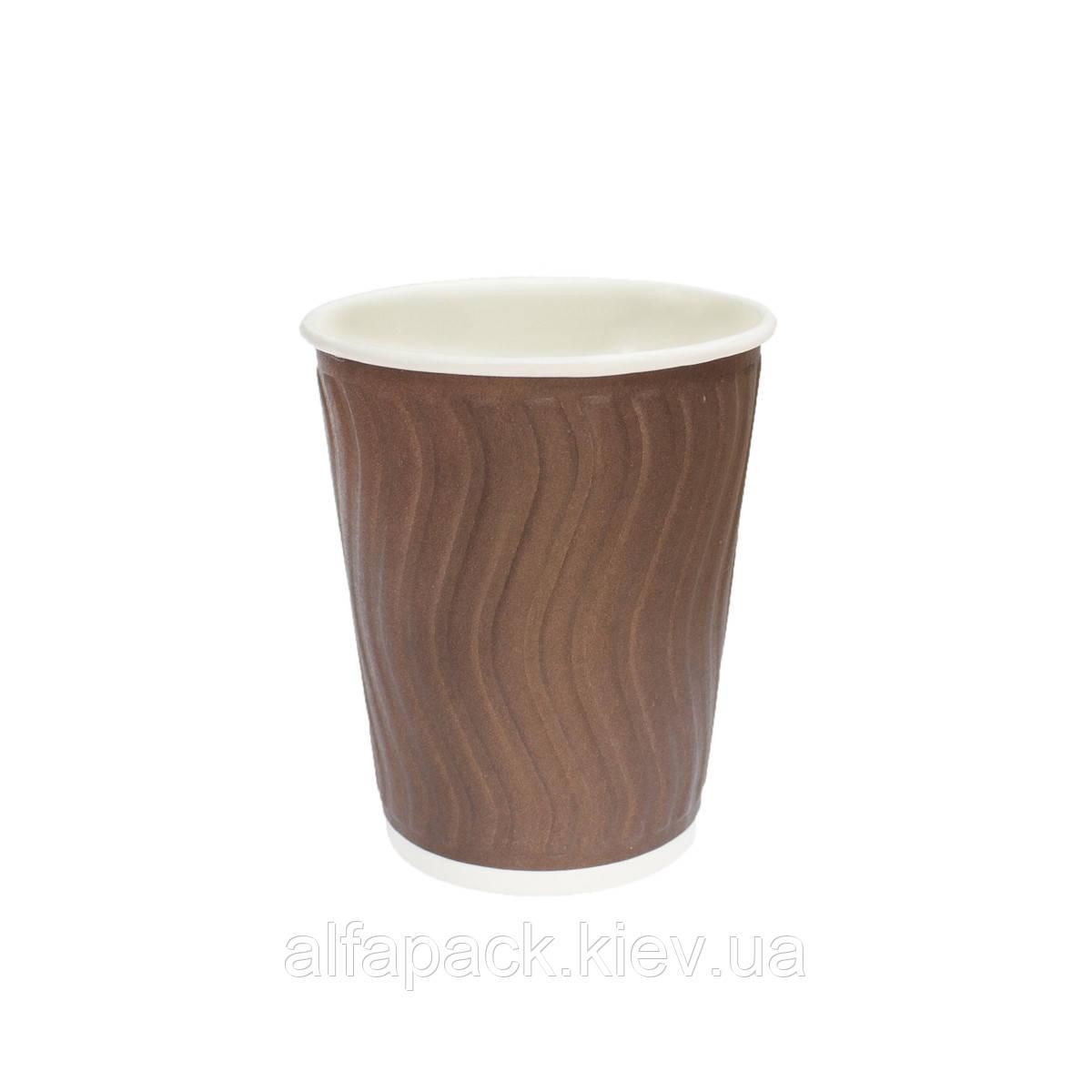 Гофрированный стакан волна коричневый 400 мл