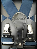 Чоловічі підтяжки світло-синього кольору для штанів, фото 2