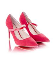 Женские классические туфли-лодочки красные на каблуке 9 см эко-замша , фото 1