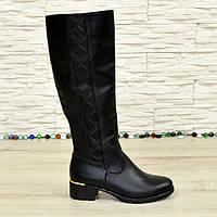 Женские кожаные зимние высокие сапоги на каблуке. 37 размер