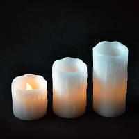 Комплект 3-х свечей декоративных Mica Decorations цвет - белый с оттенком желтого