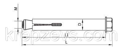 Анкер распорный с гайкой - конструкция