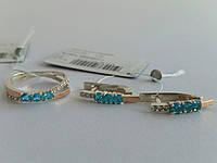 Ювелирный гарнитур из серебра с золотом -кольцо и серьги (арт.01-067Н)
