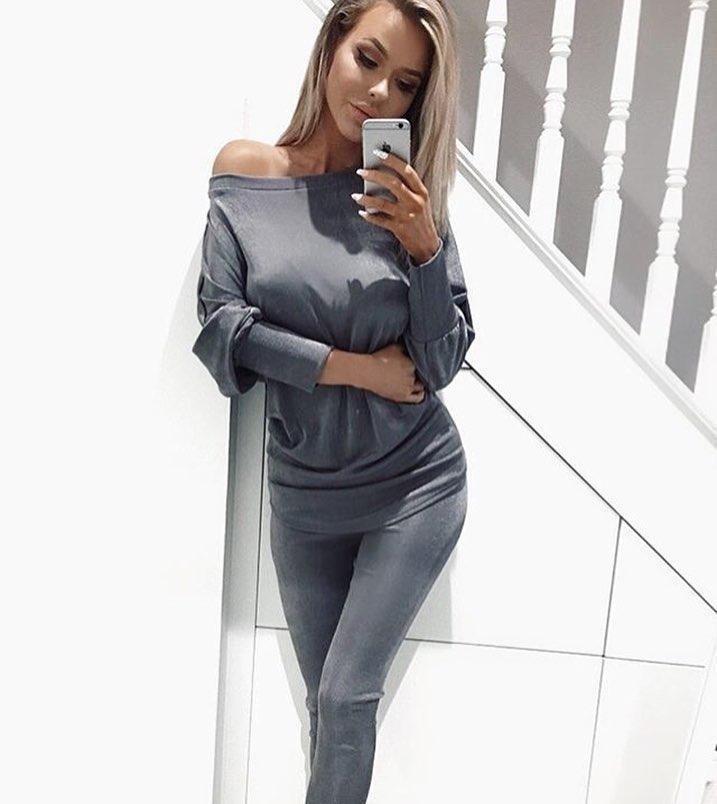 99ac15770062 Модный женский костюм двойка серого цвета - Интернет-магазин одежды и обуви  от производителя