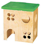 Домик для хомяков двухэтажный Лори, дерево, 12х10х14см