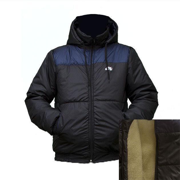 Куртка тепла чоловіча на синтепоні і овчині Nike