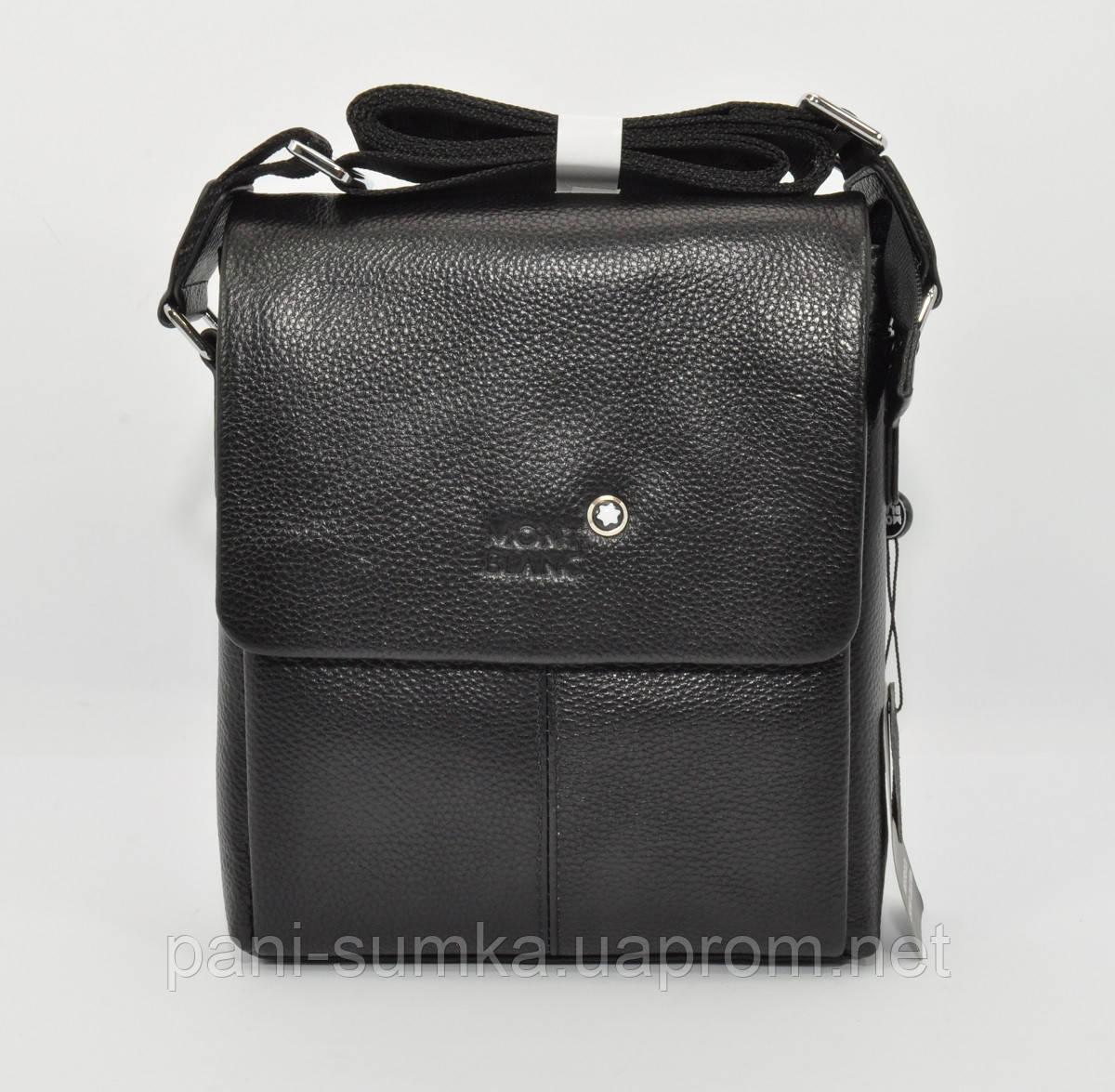 cf061dc4cb9f Мужская кожаная сумка Montblanc 9068-3 черная большая - Интернет магазин