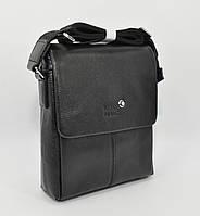 Мужская кожаная сумка Montblanc 9068-2 черная средняя