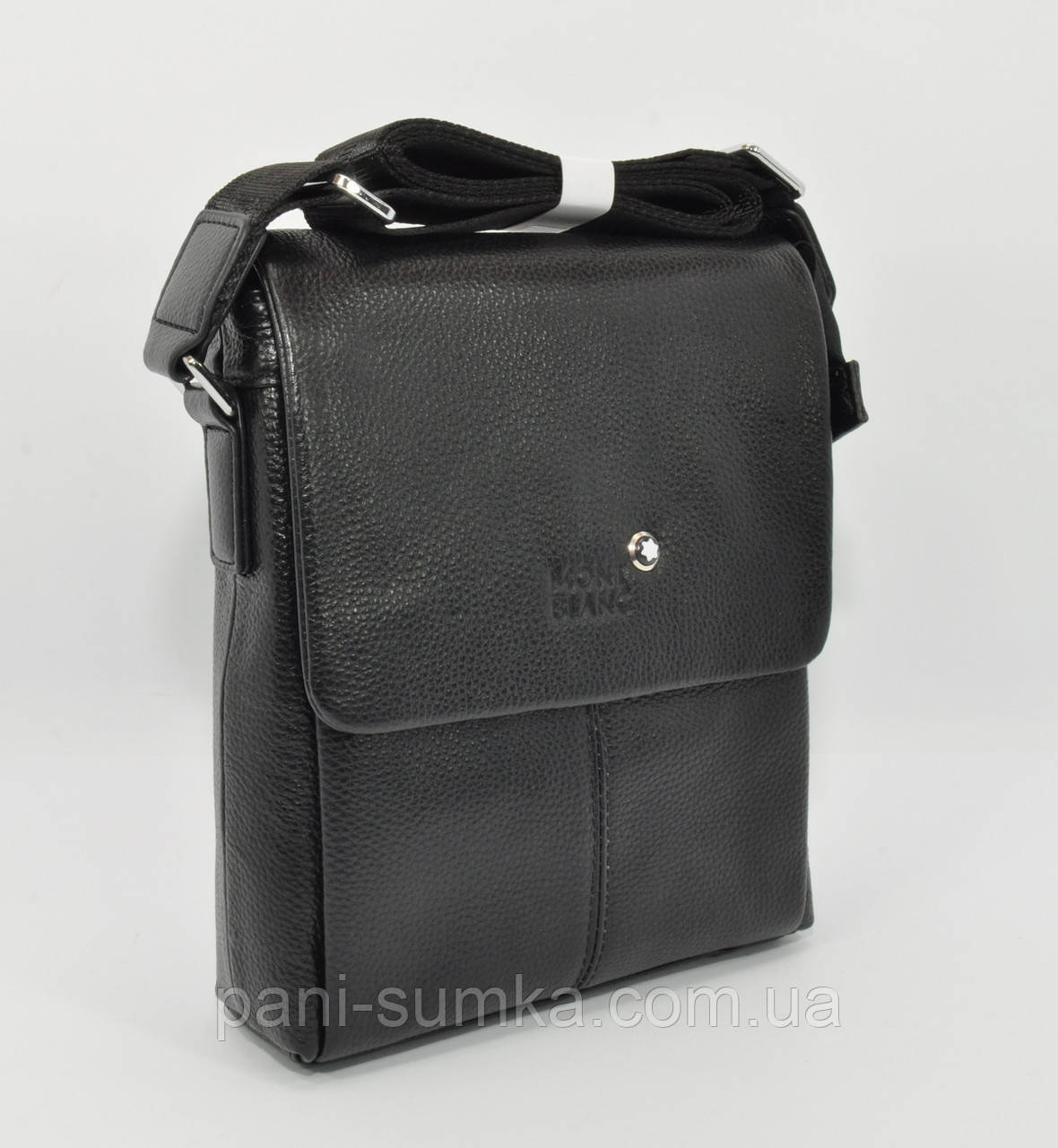 5933eb6a4646 Мужская кожаная сумка Montblanc 9068-2 черная средняя: продажа, цена ...