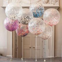 Прозрачные гелиевые  шарики с конфетти большие 48 см.