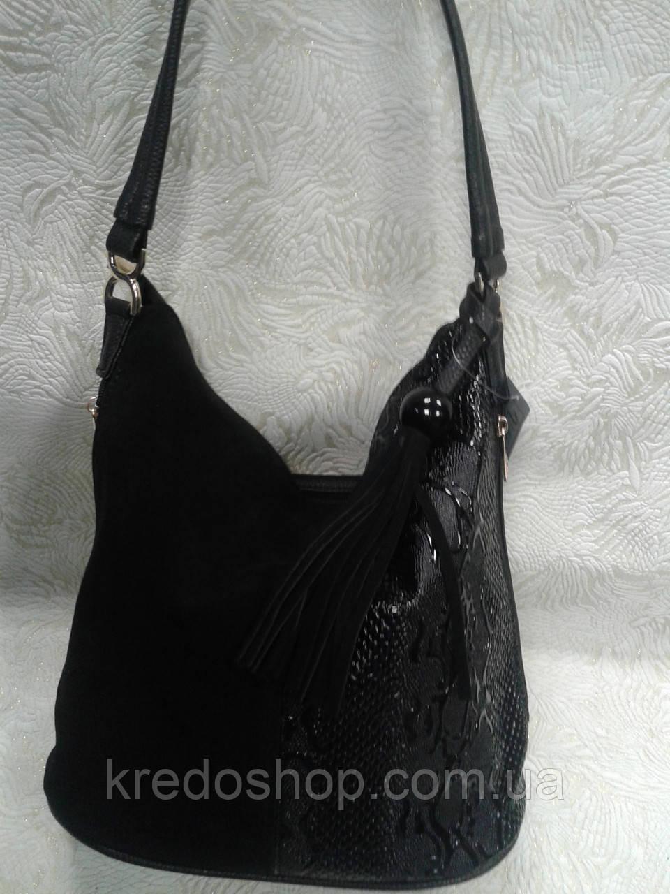 58df11d703f9 Сумка стильная молодежная черная замша с лаком - Интернет-магазин сумок и  аксессуаров