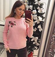 Теплый женский свитер декорирован розой, фото 1