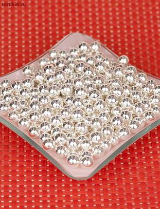 Цукрові кульки срібні 2 мм, 3 мм, 5 мм, 7 мм, упаковка 1 кг/ Сахарные шарики серебряные , фото 2