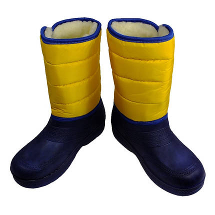 Дутики сноубутсы женские VR зимние утепленные меховые желто-синие на липучке подошва ЭВА, фото 2