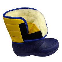Дутики сноубутсы женские VR зимние утепленные меховые желто-синие на липучке подошва ЭВА, фото 3