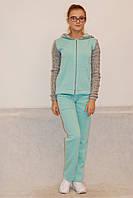 Женский теплый спортивный костюм New Style бирюзовый с серым (130) код 935А