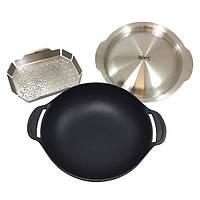 Сковорода ВОК с вставкой-пароваркой и крышкой для Gourmet BBQ System, чугун (8856)  Weber