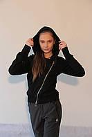 Женская спортивная толстовка Adidas (054857) черная косая код 777А