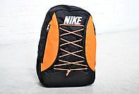 Оранжевый городской рюкзак найк (Nike), шнуровка реплика