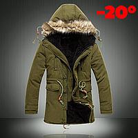 Мужская зимняя куртка парка на меху В НАЛИЧИИ, хаки (PS_02) Размер 42-46