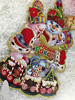 Новогодняя наклейка Снеговички 60 на 40 см, декор новогодний