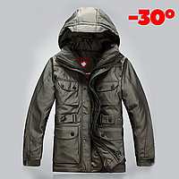 Мужская зимняя удлинённая куртка пуховик WELLENSTEYN в наличии, оливковый. Размер 46, 48, 52
