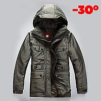 Мужская зимняя удлинённая куртка пуховик WELLENSTEYN в наличии, оливковый. Размер 48