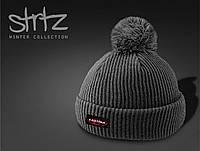 Теплая молодежная шапка с помпоном/бубоном Eastpak реплика, фото 1