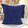 Декоративная подушка 45х45 гобелен: синяя в горох, съемная наволочка, наполнитель холлофайбер
