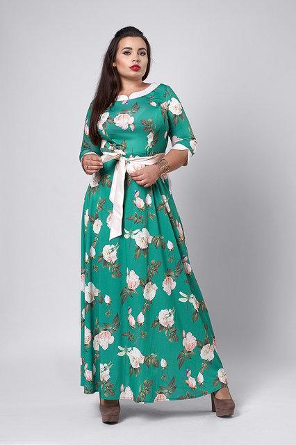 Длинное женское платье зеленое с молочным
