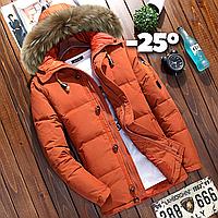 Мужская зимняя куртка пуховик в наличии! (YD7_02), оранжевая. Размер 46-52
