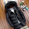 Мужская зимняя удлинённая куртка пуховик JEEP в наличии! (NB_02), черный. Размер 46