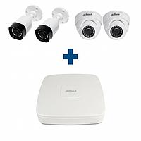 Комплект HD 2 уличные + 2 купольные камеры Dahua