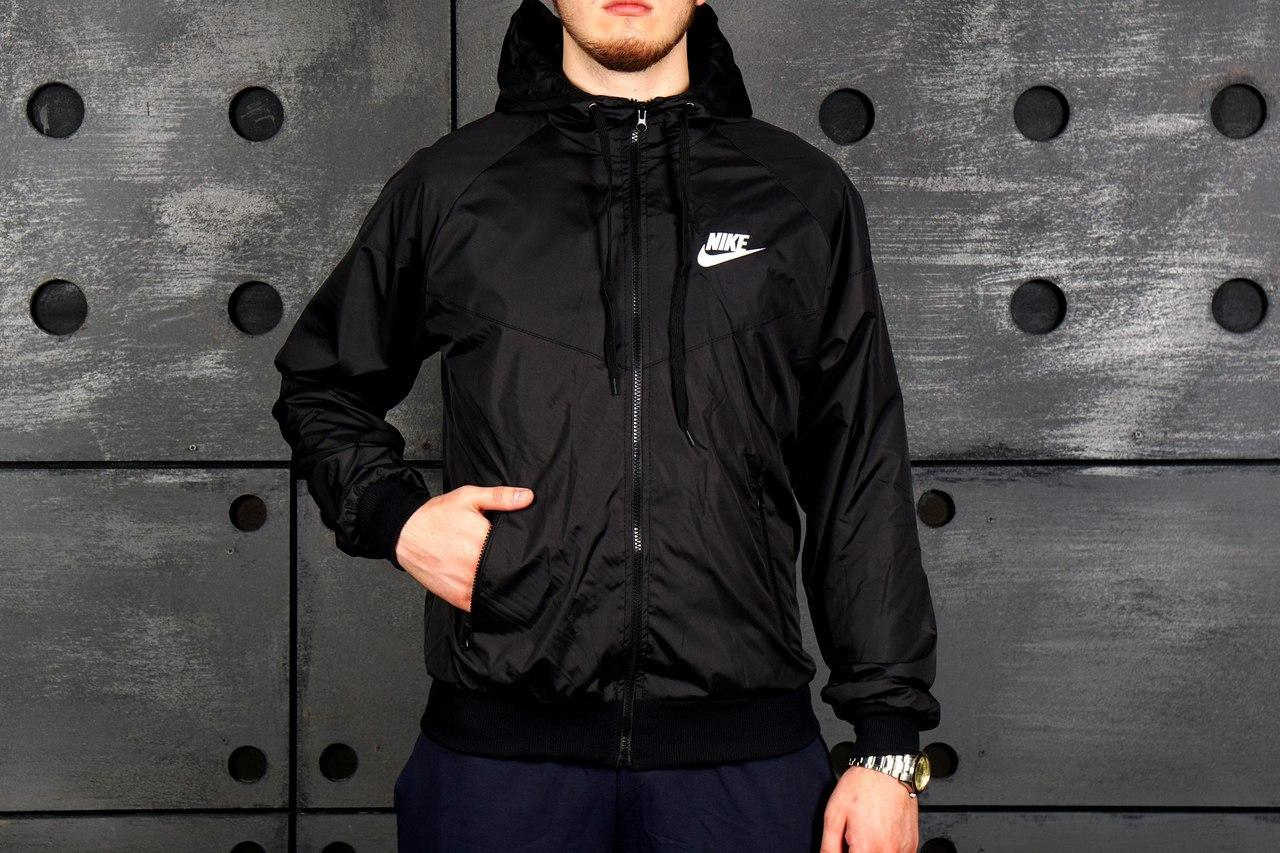 0038e3b7 Мужская весення куртка/ветровка/виндраннер найк (Nike), черная ...