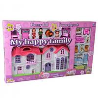 Домик кукольный, с семьей, мебелью, собачкой дом для кукол